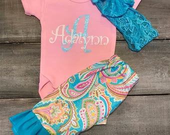 handmade ruffled pants outfit , bodysuit with name and a matching headband,