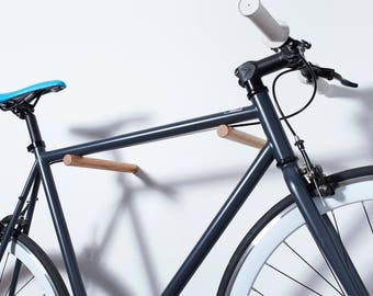 Bike Sticks - Wall Mount Bike Rack / Fenwick / Oak Wood Bike Hook - Modern Minimalist Simple Bicycle Rack Storage