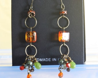 Brass Autumn Earrings with Orange, Green, and Red Dangles