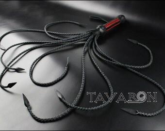 Black leather whip Flogger, BDSM flogger, Cat O'Nine Tail Whip, Cat of nine tails, Cat o 9