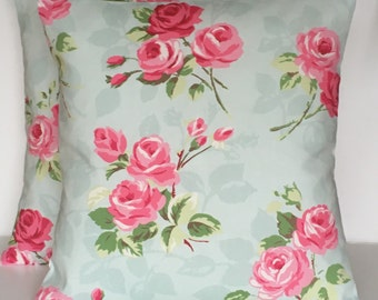 "2 x 16"" Clarke & Clarke Nancy duck egg blue pink cushion covers"
