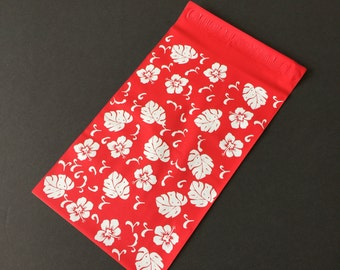 100 NEW 6x9 Red Hawaiian Hibiscus Designer Poly Mailers  Flowers Self Sealing Envelopes Shipping Bags