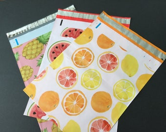 50  10x13 Fruit Assortment CITRUS WATERMELON and  PINEAPPLE   Poly Mailers Self Sealing Envelopes