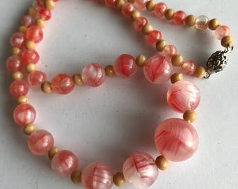 Vintage Givre Glass Beaded Necklace .