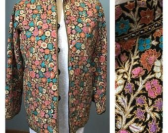 Vintage Boho hand embroidered Jacket . floral  embroidery . Blouse . Jacket .  Kashmir Coat