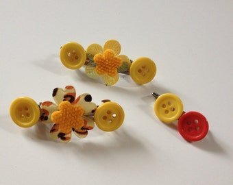 Yellow Flower and Button Hairclips and Brooch