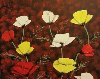modern wall art poppy painting original acrylic painting poppies poppy fields