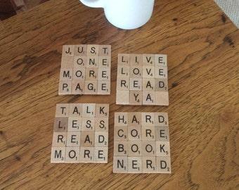 Book lover Scrabble coasters