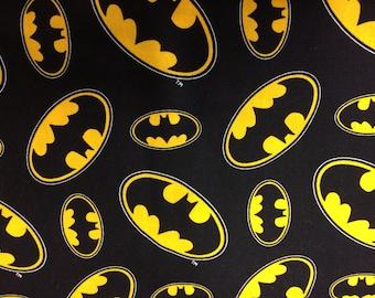 DC comics black Batman logo fabric, comic fabric, cartoon fabric, character fabric, Batman fabric, DC, Batman