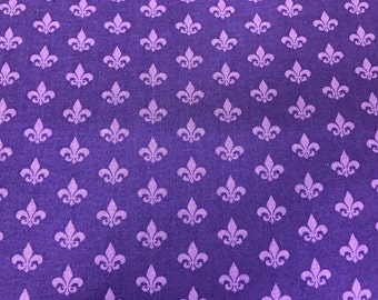 Purple Mardi Gras fleur de lis fabric, New Orleans fabric, Fat Tuesday, carnival fabric, fleur de lis, French Quarter