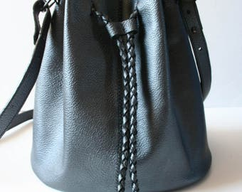 Leather Bucket Bag - The Titan in Metallic Pewter