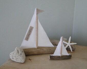 Pair of driftwood sailboats, driftwood boats, nautical decor, beach decor, coastal decor, sailboats, home decor, beach house, nursery decor