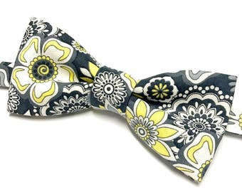 Grey and Yellow Floral Bow tie, Grey Floral Bow tie, Yellow & Grey Bowtie, Grey Bowtie with Flowers, Charcoal Bowtie, Dark Grey Bow tie,