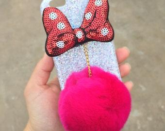 Disney phone case, Disney iPhone 6/6s case, Minnie Mouse iPhone 6 case, Glitter iPhone case, Fur ball iPhone case, Pom Pom case