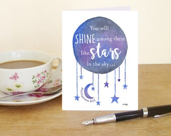 """A6 Greetings Card - Philippians 2:15 """"You will shine among them like stars in the sky"""" (Christian Bible verse)"""