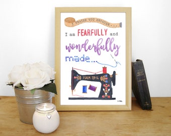 """Watercolour Art Print """"I praise you because I am fearfully and wonderfully made"""" - Psalm 139:14 (Christian Bible verse) A4 sewing machine"""