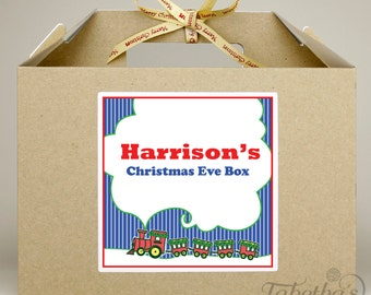 Personalised Large Christmas Eve Box, Kraft Brown with Merry Christmas Ribbon, Train Design