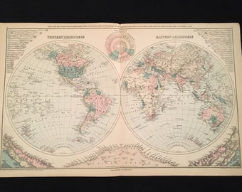 Rare 1879 Gray's Map of the World in Hemispheres with Comparative Heights and Lengths of Mountains & Rivers, Original Antique Map