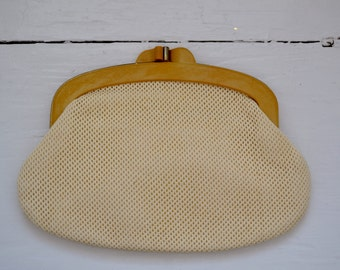 1950's/1960's Tan and Cream Knit Canvas Clutch