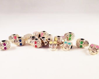 ISP87 - 5 beads effect Email Champagne reflections pink skull / Rose Gold Pandora Style Skull Skeleton Spacer wide Hole Spacer Beads 5
