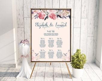 Wedding Seating Plan // Seating Chart, Welcome Sign, Printable Sign, Seating Plan, Digital Wedding Stationery - Elizabeth Suite