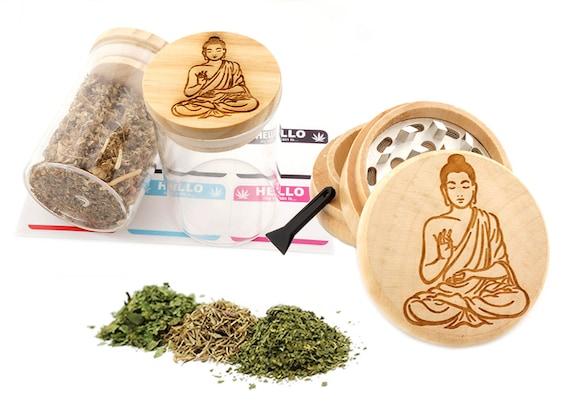 Buddha Engraved Premium Natural Wooden Grinder & Wood Lid Glass Jar Gift Set # GS103116-32