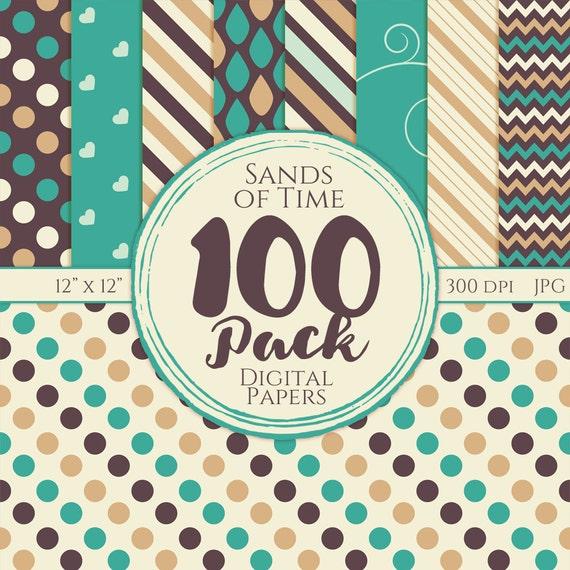 Digital Paper 100 Pack - Sands of Time - Commercial Use, Sands of Time Digital Patterns