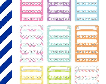 Pastel Patterned Trackers, Premium Matte Vinyl, Planner Stickers, Removable, Repositionable, For ECLP & Other Planners, Vinyl Sticker