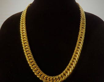 Vintage Napier Sleek Gold Tone Chain Link Necklace