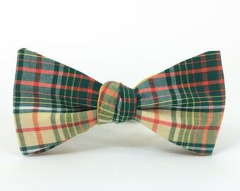 Green Orange & Beige Tartan Freestyle Bow Tie / adjustable 15 - 19 inches