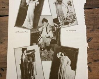 Antique Print - Sarah Bernhardt, Actress, Silent Films, Theater - Book Page, Lithograph (B583)