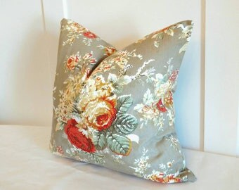 Floral  pillow, flowers pillow cover, Cottage Chic pillow, country roses pillow, 20x20 pillow cover, farmhouse roses pillows, Waverly pillow