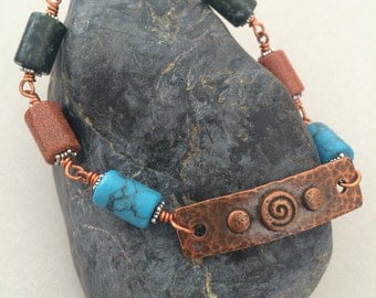 Earthy Handmade Bracelet, Copper, Goldstone, Moss Agate, Magnesite, Antiqued Copper toggle