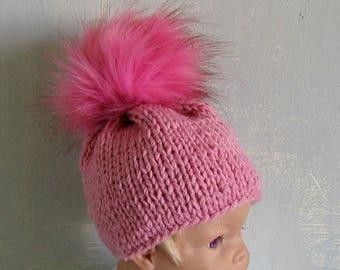 Girl Hat Baby Knit hat Newborn Hat Photo Prop Grey  Baby Knit hat  Infat Hat Newborn Baby Girl Hat Cable Girl Hat Fur Pom Pom Hat