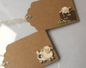 Baby Lamb Favor tags, Baby Shower Favor Tags, Sheep Food Labels, Placecards - 8 per order