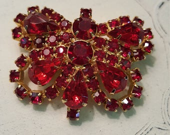 Vintage Red Rhinestone Butterfly Brooch