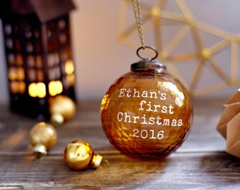 Honeycomb personalized glass Christmas ornaments, Babys first Christmas ornament, Personalized Christmas gifts, gifts for new born