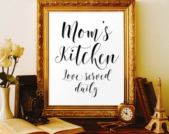 Moms kitchen printables Mothers day gift Kitchen wall decor Kitchen sign Mothers birthday Mom gift Kitchen gifts Kitchen design Kitchen item