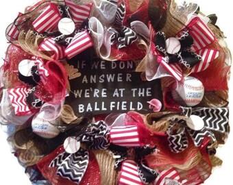 Burlap baseball theme wreath