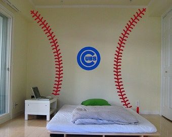 Baseball Stitches Wall Decal Kit World Series Chicago Cubs Cleveland Indians Yankees NY
