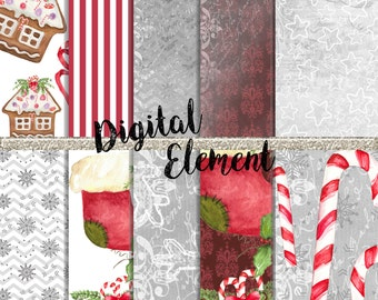 Digital Christmas Paper, Digital Christmas Paper, Digital Christmas Watercolor Paper, Holiday Hand Painted Floral Wrapping Paper No. Chp.4