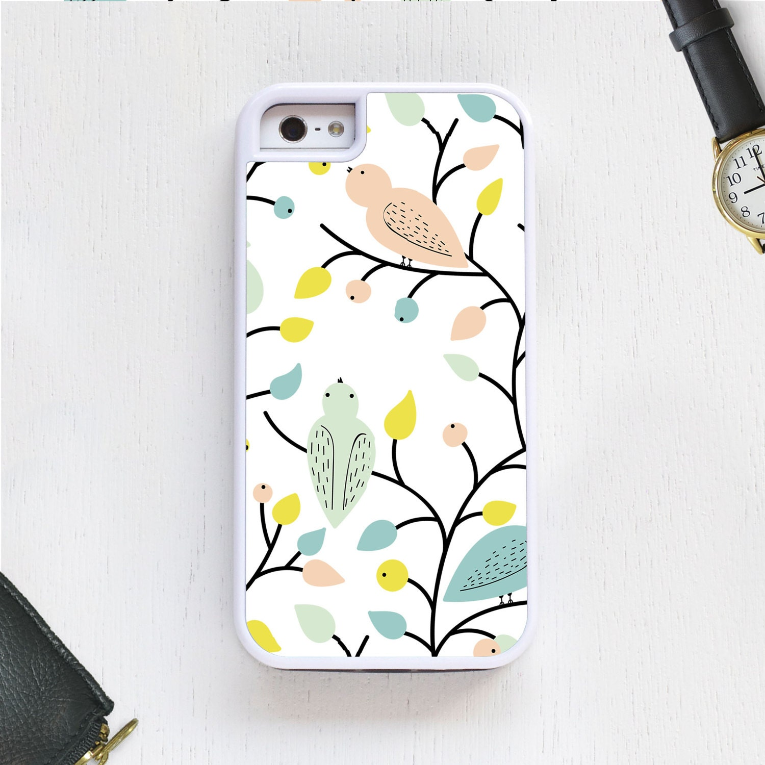 Pink And Blue Bird Cartoon Characters On Trees Cell Phone Case
