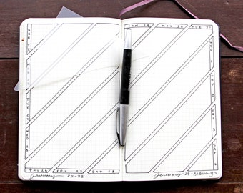 Diagonal Triangle Weekly Bullet Point Journal Stencil, Fits 5X8 journals such as Moleskine and Leuchtturm
