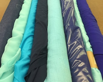 Assorted Blue and Green Fabrics