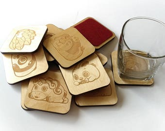 Bunimals Lasercut Wood Coasters