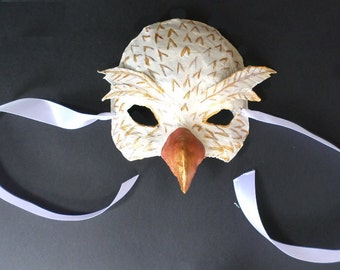 White and Gold Dove Mask, Bird Mask, paper mache, wearable
