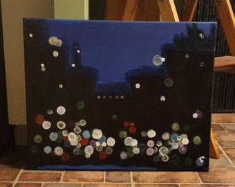 16 x 20 Acrylic Canvas City Nights Painting