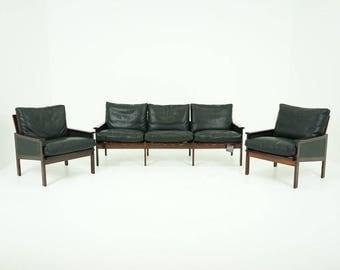 308-017 Danish Mid Century Modern Rosewood Sofa & Chairs Set by Illum Wikkelso