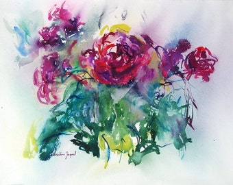Original watercolor of roses, painting of pink flowers, watercolor of flowers, original painting, gift for her