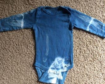 Hand dyed indigo onesie 6-9 months